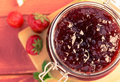 Traditional strawberry jam made at home with a prescription. Royalty Free Stock Photo