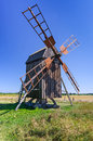 Traditional Swedish wooden windmill from 1800 century Royalty Free Stock Photo