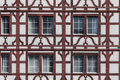 Traditional swiss house wall in red and white Royalty Free Stock Photo