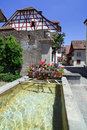 Traditional Swiss Village Water Fountain Royalty Free Stock Photos