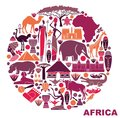 Symbols of Africa in the form of a circle Royalty Free Stock Photo
