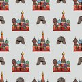 Traditional symbols of Russia. Hand drawing. Vector seamless pattern