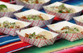 traditional Tacos on a Mexican blanket Royalty Free Stock Photo