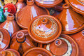 Traditional tajine vessels of morocco ceramic seen in the souks marrakesh Royalty Free Stock Photography