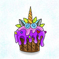 Traditional tattoo cupcake design.