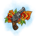 Traditional tattoo rose and gun design.