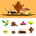 Traditional tea ceremony with samovar. Vector icons set in flat style. Design elements, cup, cake, chocolate, lemon, cookies, swee Royalty Free Stock Photo