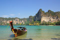 Traditional Thai boat on Railay beach, Krabi, Thailand Royalty Free Stock Photos