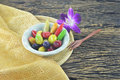 Traditional thai dessert colorful of by nut in fruit style on wooden plate Stock Photos