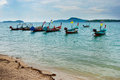 Traditional thai longtail fisherman boat on the beach rawai phuket thailand Stock Images