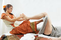 Traditional thai massage health care foot kneading Royalty Free Stock Photos