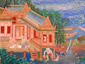Traditional thai mural painting of the life of buddha on temple wall thailand Royalty Free Stock Photography