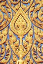 Traditional thai style art carving at the door of Royalty Free Stock Photography