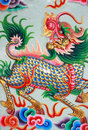Traditional Thai style art with chines dragon Royalty Free Stock Photo