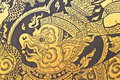 Traditional Thai style art gold painting pattern on the door Royalty Free Stock Photo