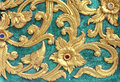 Traditional Thai style art gold painting pattern on the wall Royalty Free Stock Photo