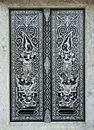 Traditional Thai style church door Royalty Free Stock Photo