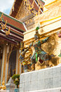 Traditional thai style statue of guard at wat phra kaeo temple emerald buddha in grand royal palace most important buddhist Royalty Free Stock Photo