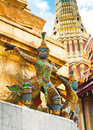 Traditional thai style statue of guard at wat phra kaeo temple emerald buddha in grand royal palace most important buddhist Stock Images