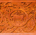 Traditional Thai style wood carving Stock Images