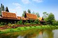 Traditional thailand house with lake blue sky Royalty Free Stock Images