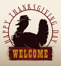 Traditional Thanksgiving Turkey Silhouette Invitation, Vector Illustration