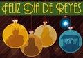 Traditional Three Magi and Nativity Scene like Christmas Tree`s Ball, Vector Illustration Royalty Free Stock Photo