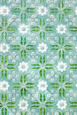 Traditional tiles with nice green painting from portug beautiful portugal Stock Images