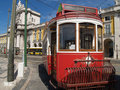 Traditional trams downtown Lisbon Stock Photography