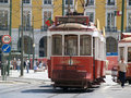 Traditional trams downtown Lisbon Royalty Free Stock Image