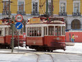 Traditional trams downtown Lisbon Royalty Free Stock Photos