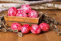 Traditional transylvanian hand written eggs easter surrounded by willow branches Royalty Free Stock Photos