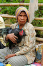 Traditional tribal market on an island timor indonesia soe april for seller of chicken in the exotic pasar in the soe Royalty Free Stock Photos