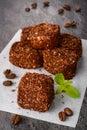 Traditional turkish delight dessert chocolate selective focus Stock Image