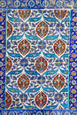 Traditional turkish floral ceramic ornament on tiles background in eyup istanbul Royalty Free Stock Photos