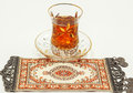 Traditional turkish tea set with turkish carpet Royalty Free Stock Photo