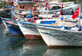 Traditional Turkish wooden fishing boats docked at Alanya Port Royalty Free Stock Photo