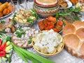 Traditional ukrainian food in assortment Stock Photo