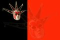 Traditional Venetian mask on a black and red background Royalty Free Stock Photo