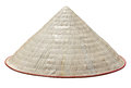 Traditional vietnam straw hat old isolated on white clipping path included Stock Photo