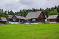 Traditional village with wooden houses in slovakia stara lubovna Royalty Free Stock Photography