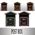 Traditional wall mounted metal mailbox. Classic postal box for mail and correspondence.