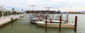 Traditional water taxi at venice airport the is a flat bottomed venetian motor boat well suited to the Stock Images