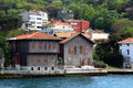 Traditional waterfront houses on the bosphorus wooden house of village village is located european side of strait of turkey Royalty Free Stock Photo