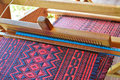 Traditional weaving loom for carpets in thai Royalty Free Stock Images