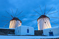 Traditional windmills at mykonos island the old of in greece Royalty Free Stock Photography