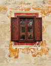 Traditional window on fresco wall Royalty Free Stock Image