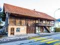 Traditional wood house cottage or cabin in switzerland Royalty Free Stock Image
