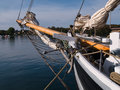 Traditional wood sailboat sailing Royalty Free Stock Photography