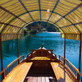 Traditional wooden boat in bled slovenia interior of the Royalty Free Stock Photos